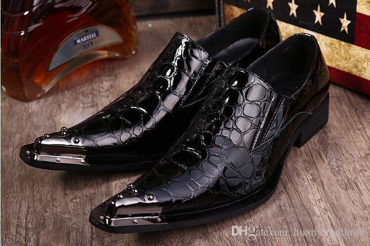 2018 Hot Style European American high-end Dress Shoe Business low help Shoes Fashion Shoes point set foot Mens Dress Wedding Shoes N126
