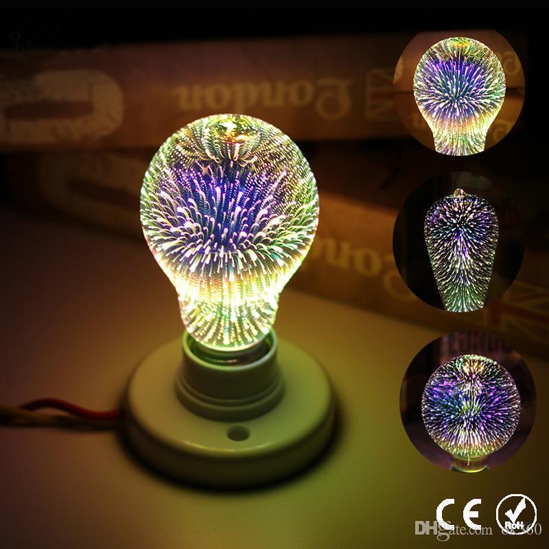 3D Stella Led Eful Fireworks Edison della lampadina A60 ST64 G80 G95 G125 della novità della lampada Retro luminose a incandescenza