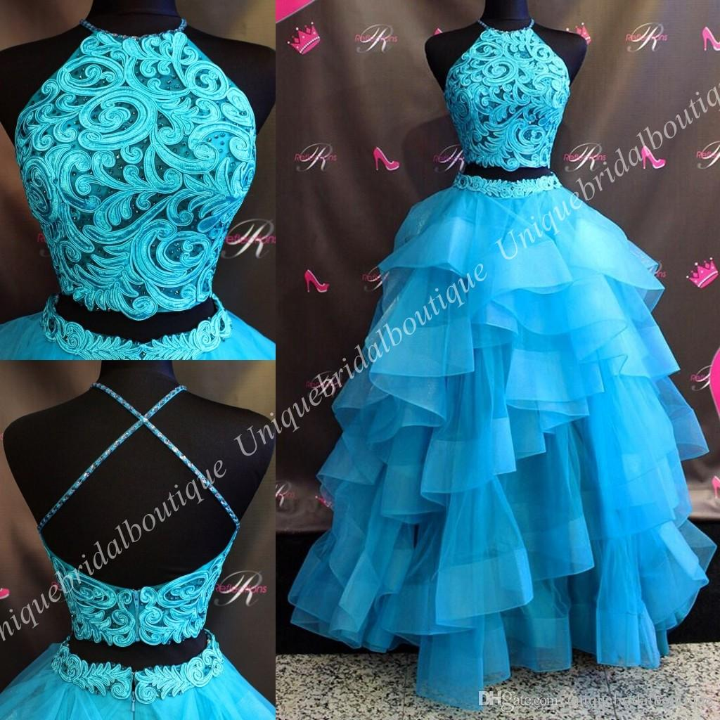 Ballgown Two Pieces Prom Dresses 2018 Real Pictures Ruffles Skirt ...