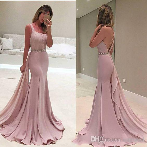 2019 New Sexy One Shoulder Satin Mermaid Long Prom Dresses Ruffle Beaded Stones Waistband Formal Party Floor Length Evening Dresses