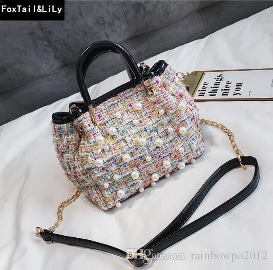 b12ba7d515b2 Sales Brand Lady Bag Fashionable Pearl Handbag Sweet Cute Woolen Lady  Bucket Bag Elegant Wool With Leather Handbag Trend Pearl Chain Bag Black  Bags ...