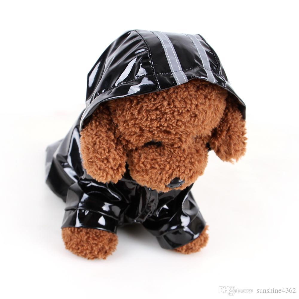 Hooded Pet Dog PU Reflection Raincoats Waterproof Clothe For Small Dogs Chihuahua Yorkie Dog Rain coat Poncho Puppy Rain Jacket S-XL