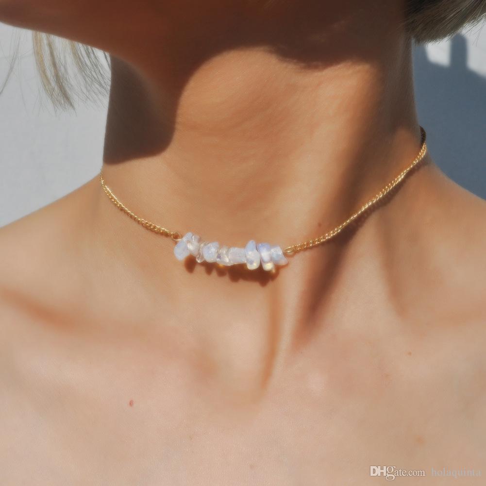 Chic Multicolore Pierre Opale Choker Colliers De Mode Chaîne En Or Collier En Cristal pour Femmes Bijoux Court Chockers Collar