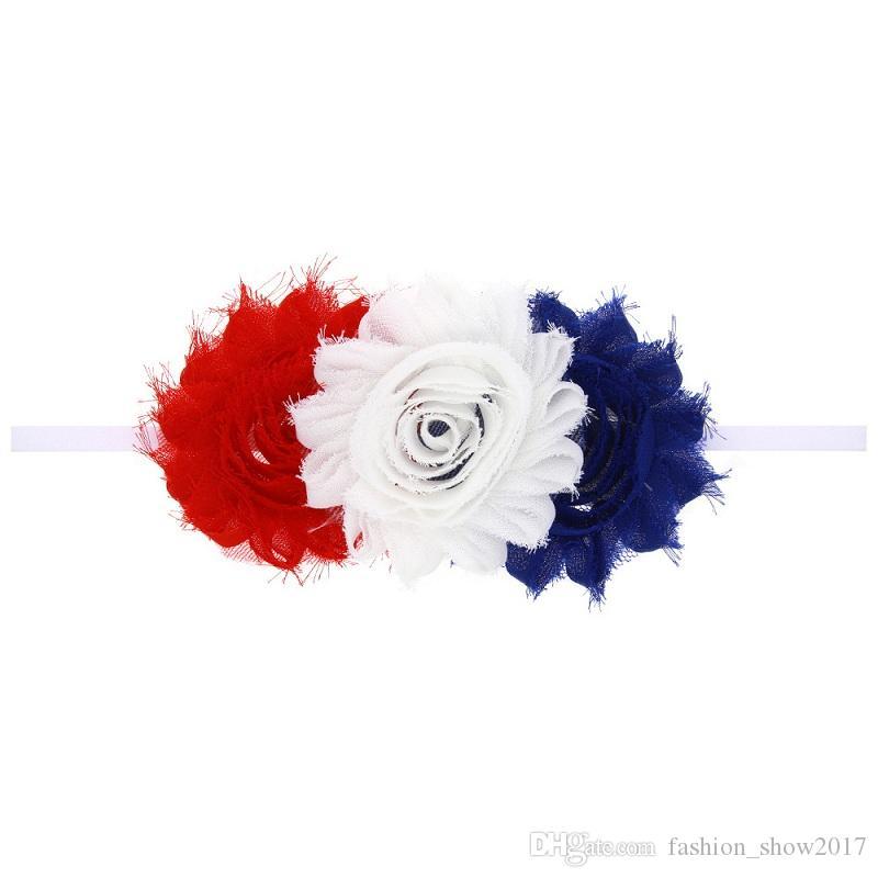 건국 기념일 꽃 탄성 초라한 꽃 아이 소녀 베이비 머리띠 유아 꽃 생일 파티 라인 석 헤어 밴드