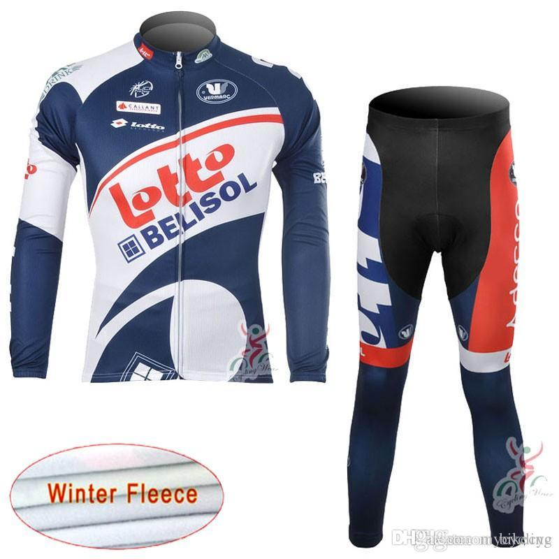 LOTTO Team Cycling Winter Thermal Fleece Jersey Bib Pants Sets New Clothing  Breathable Quick Dry Bike Sports Wear C1215 LOTTO Cycling Jersey Cycling ... 0f990733f