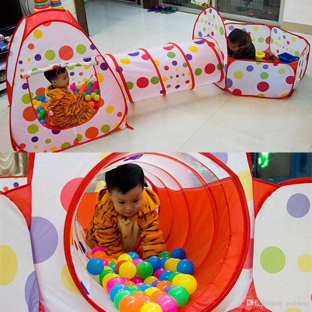 3 In 1 Kids Pop Up Play House Tents Tunnel And Ball Pit Playhouse Kids Gifts Indoor Tent For Toddler Kids Playing Tents From Godway $44.22| DHgate.Com & 3 In 1 Kids Pop Up Play House Tents Tunnel And Ball Pit Playhouse ...