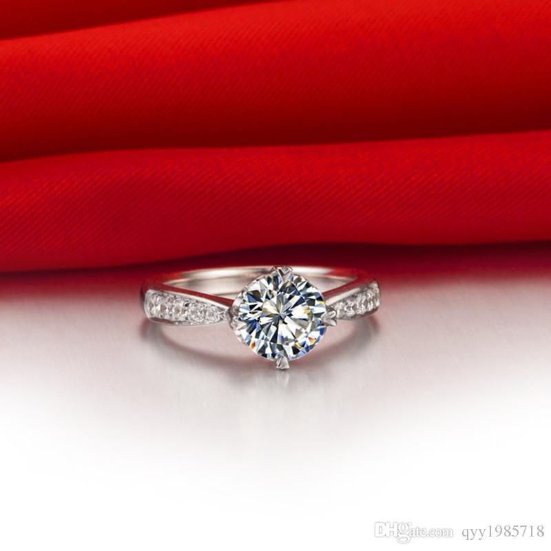 여성을위한 0.6CT 럭셔리 사랑 약속 결혼 반지 합성 다이아몬드 보석 925 실버 반지 골드 도금 약혼 반지