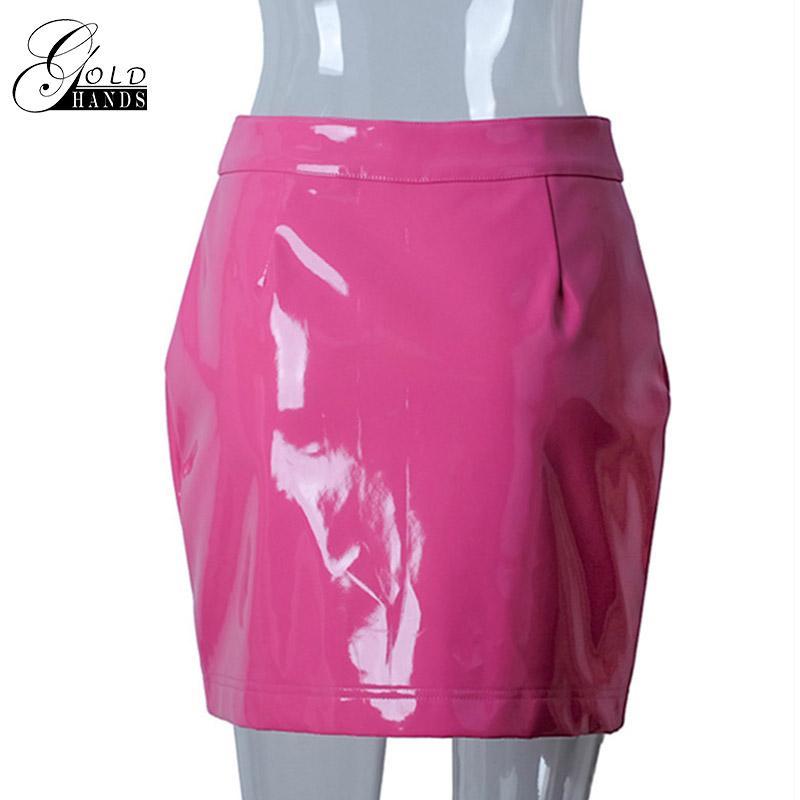 Femmes Faux En Cuir Crayon Jupes Rose Bouton Avant Fermeture À Glissière Mini Taille Haute Jupe Femme Automne Hiver Mode Sexy Party Jupes
