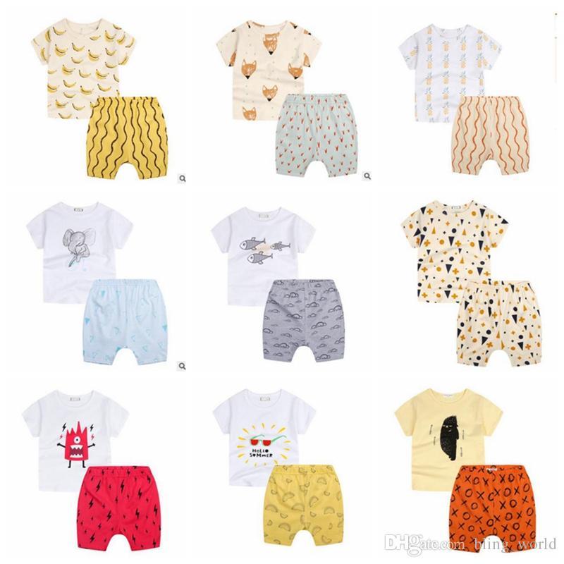 Compre Conjuntos De Ropa Para Niños Moda Dibujos Animados Fox Plátano  Impreso Baby Boys Trajes De Algodón Bebé Niñas Trajes Deportivos Ropa Para  Niños YL134 ... 0507b610b54e7