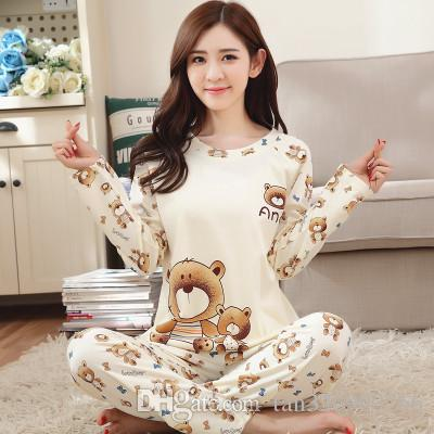 e3e5ec93be 2019 Women S Pajamas Spring And Autumn Cartoon Cotton Long Sleeved Pajamas  Ladies Trousers Large Size Cute Female Winter Home Service Suit From  Tan326900766 ...