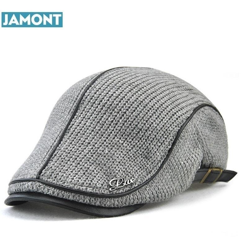 b2c9091b36366 2019 JAMONT High Quality English Style Winter Woolen Elderly Men Cap Thick  Warm Beret Hat Classic Design Vintage Visor Cap Snapback From Value333