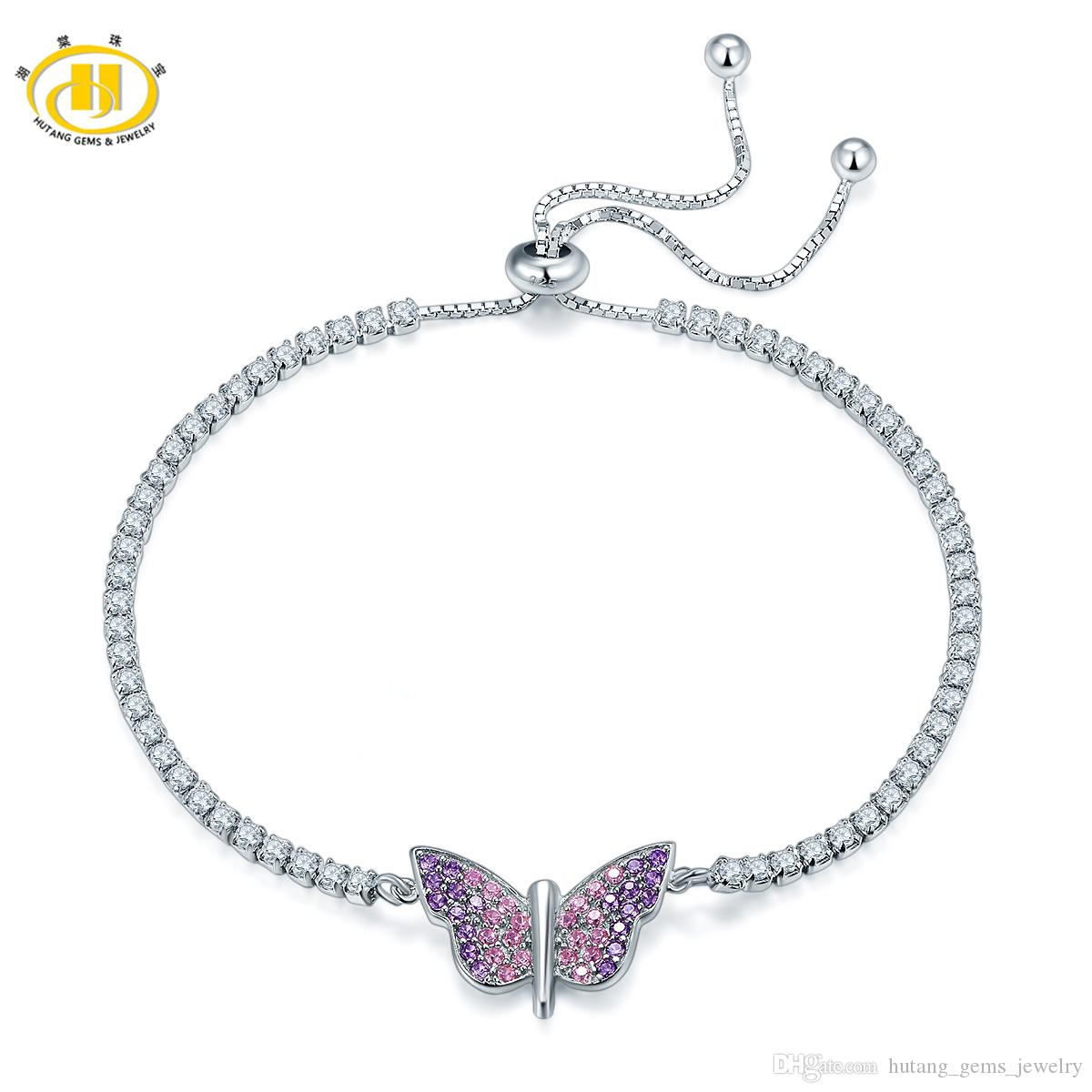Hutang Solid 925 Sterling Silver Butterfly Adjustable Bracelets for Women's Girl's Crystal Jewelry 2018 New Arrival Hot Sale