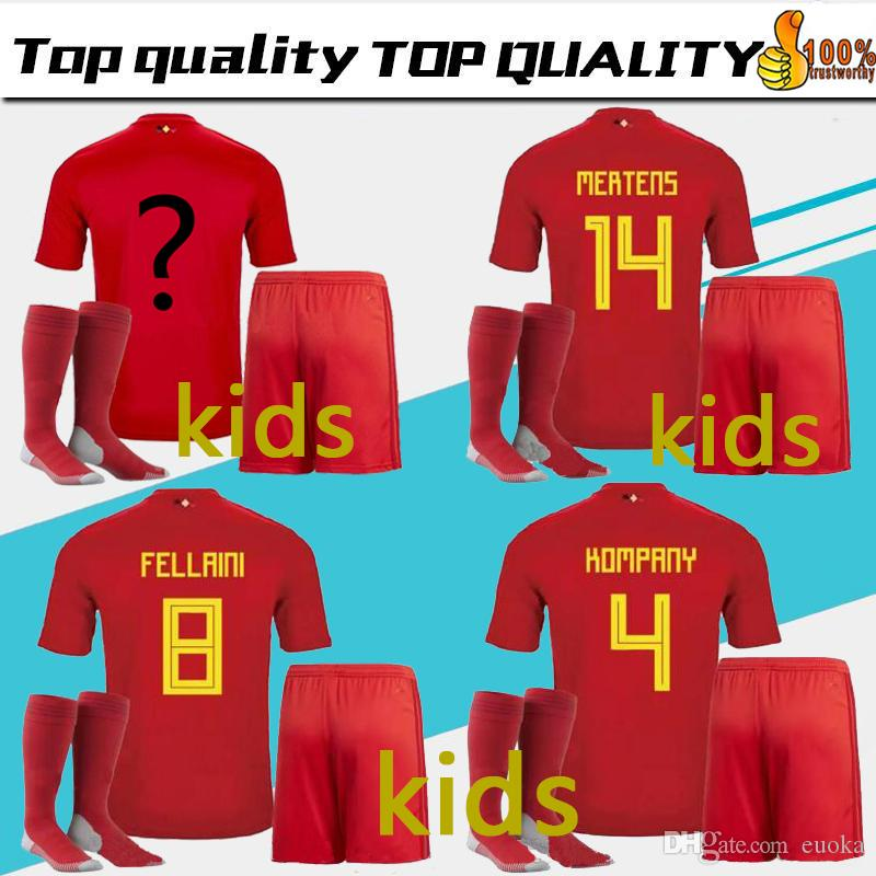 Wholesale Kids Kit 2018 World Cup Belgium Team Socks Soccer Jersey De  Bruyne Lukaku Fellaini E.Hazard Kompany De Bruyne Soccer Jersey Football  Shirt S By ... 914c47e48