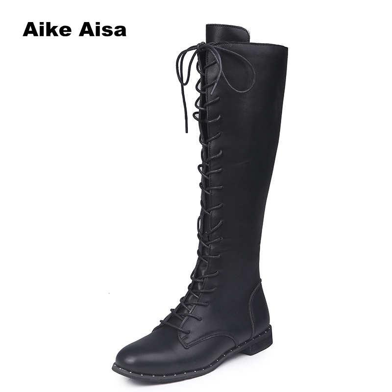 821c505fc638 Sexy Lace Up Over Knee Boots Women Rome Style Boots Women Flats Shoes Woman  Suede Long Botas Winter Thigh High 35 43 Mens Leather Boots Grey Boots From  ...