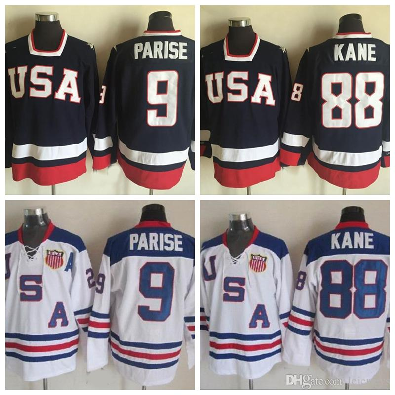 8505ddbd3 2019 2010 Olympic Team USA Hockey Jerseys 9 Zach Parise 88 Patrick Kane  White Navy Blue USA Stitched Hockey Jerseys S XXXL From Lejerseys