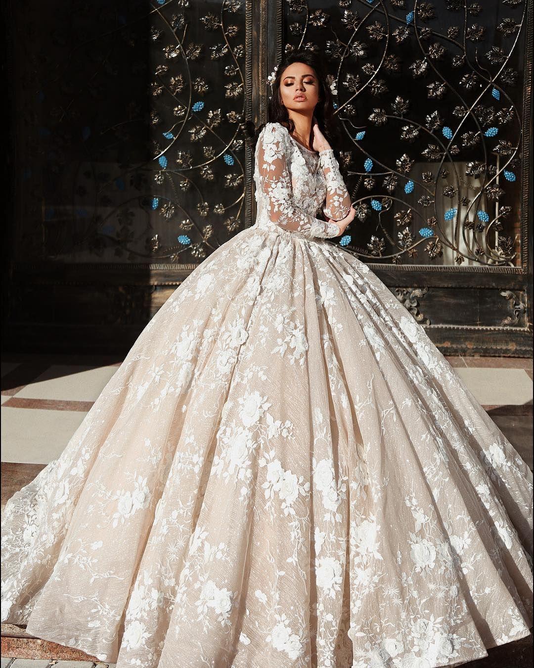 Luxury Arabic Dubai 2019 Princess Lace Ball Gown Wedding