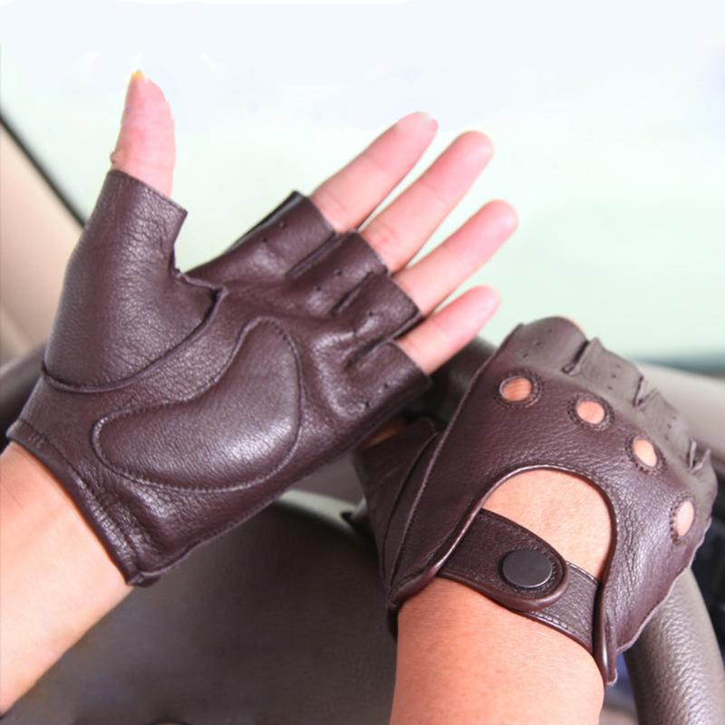 Hot Sale New Leather Spring And Summer Gloves Men Driving Non-Slip Half Finger Gloves Imitation Deerskin M044W-5