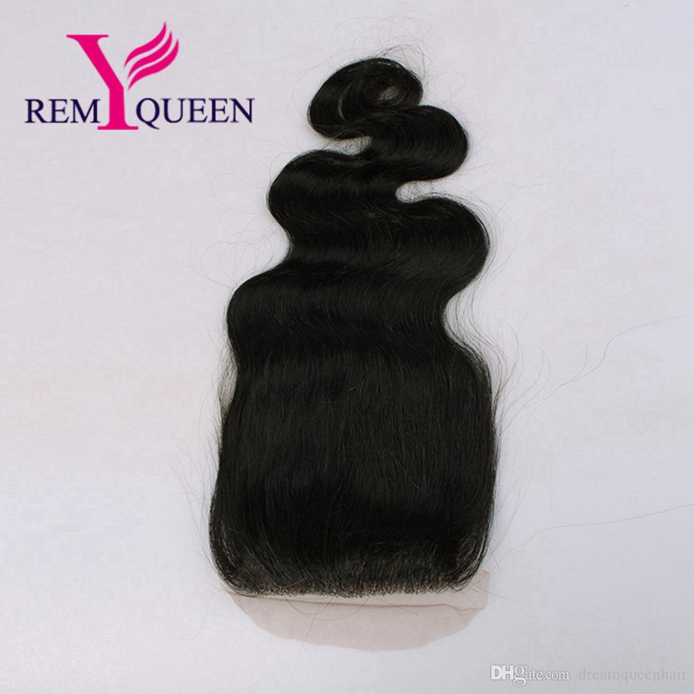 Remy Queen Malaysian 4x4 Body Wave Free Part Silk Base Lace Closure France Lace Swiss Lace Hand Tied Silk Top Closure
