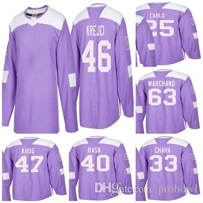 7ac0c44b1 2019 2018 Boston Bruins Purple Hockey Jerseys Zdeno Chara 63 Brad Marchand  46 David Krejci 40 Tuukka Rask 25 Brandon Carlo 47 Torey Krug From Probowl
