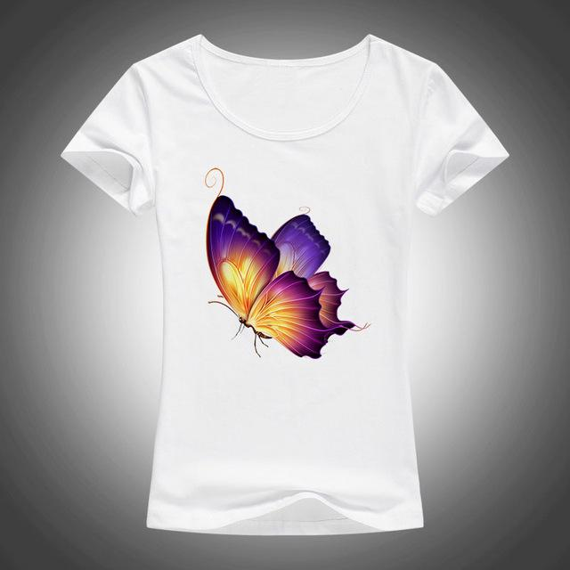 7b192f01299 Fashion Butterfly Printed T Shirt Women Lovely 3D Summer Cool Shirt ...