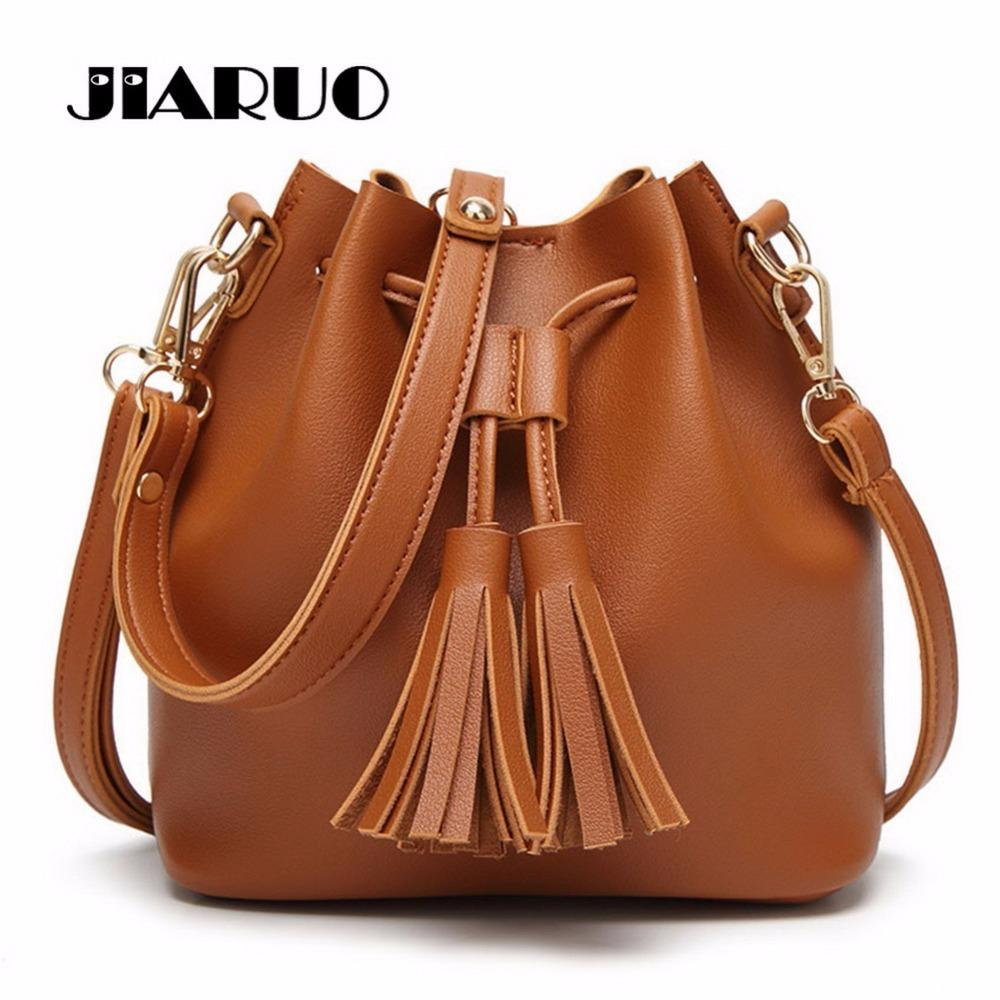 d1bc4042927e 2019 Fashion JIARUO Vintage Fashion Small Women Leather Bucket Bag Handbag  Tassel Drawstring Shoulder Bag Messenger Crossbody Bags Purses Leather Bags  ...