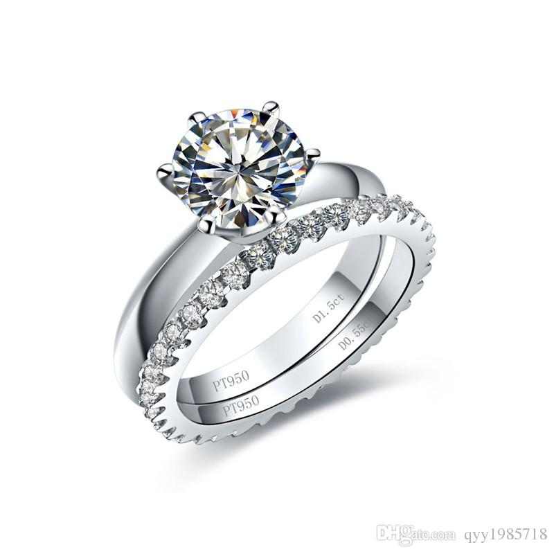 Classic 0 6ct Sona Synthetic Diamond Bridal Ring Set For Women 925