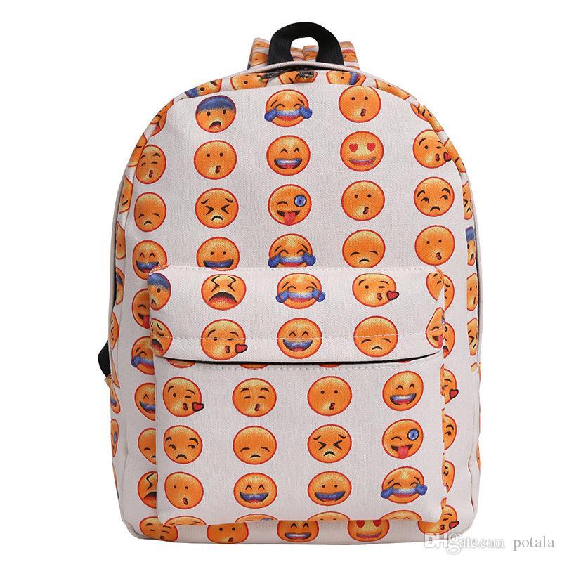 5099aa9468 Lovely Emoji Backpack Bags Plus Cosmetic Bag Pack Smile Print Of 42 ...