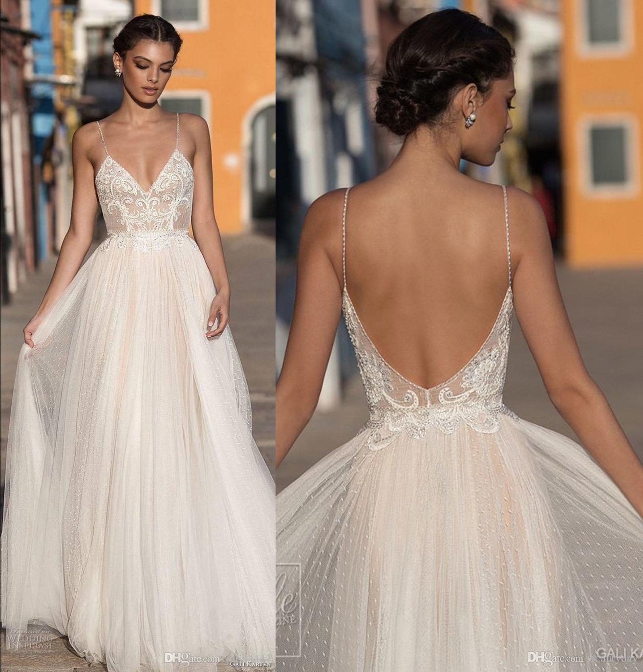 51e40a1050e Discount 2019 Wedding Dresses For Bride Beach A Line Wedding Dress  Maternity Bridal Gowns Beads Tulle Lace Sexy Backless Spaghetti Straps Boho  Plus Short A ...