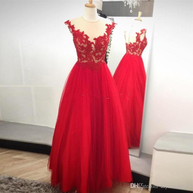 Gorgeous Red Tulle Prom Dresses Sheer Neck Cap Sleeves Appliques Tulle Floor Length Ball Gown Evening Dresses Party Dress Free Shipping