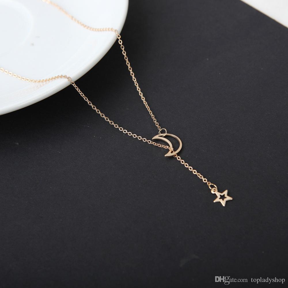 Moda europea y americana Simple Moon Star collar cadena de clavícula collar corto venta al por mayor envío gratuito