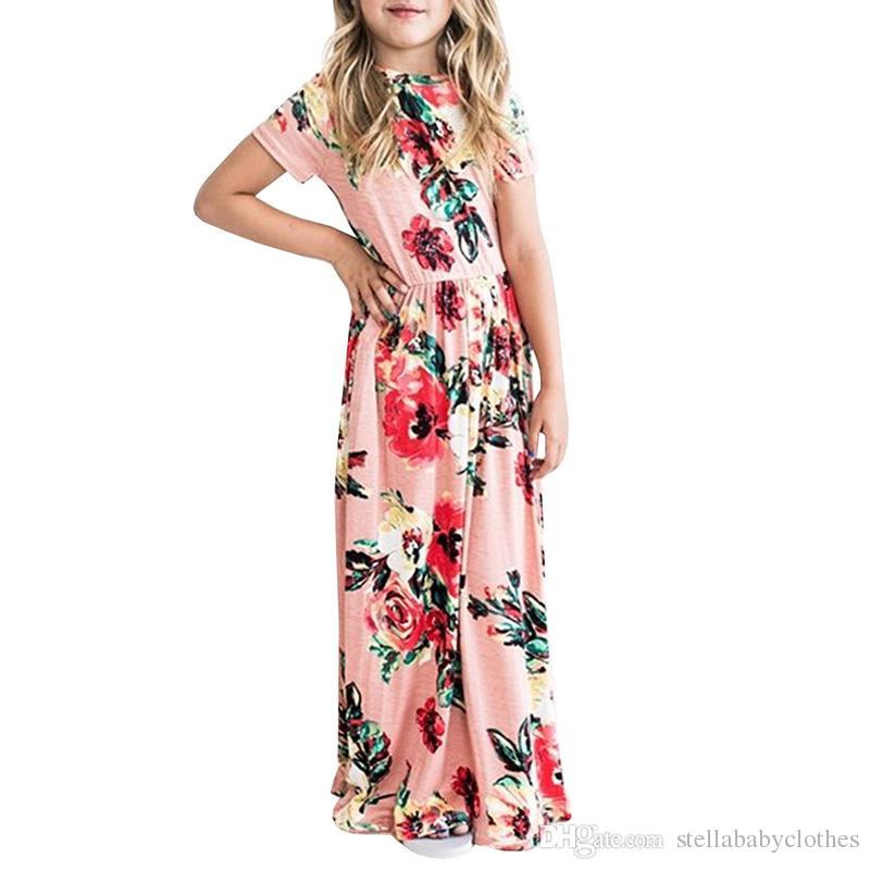 b7aa50f526fe9f Großhandel Sommer Boho Strand Kleid Mode Floral Printed Big Mädchen Langes  Kleid Kurzarm Lose Maxikleid Heiße Verkäufe Kinder Kleidung Von  Stellababyclothes ...