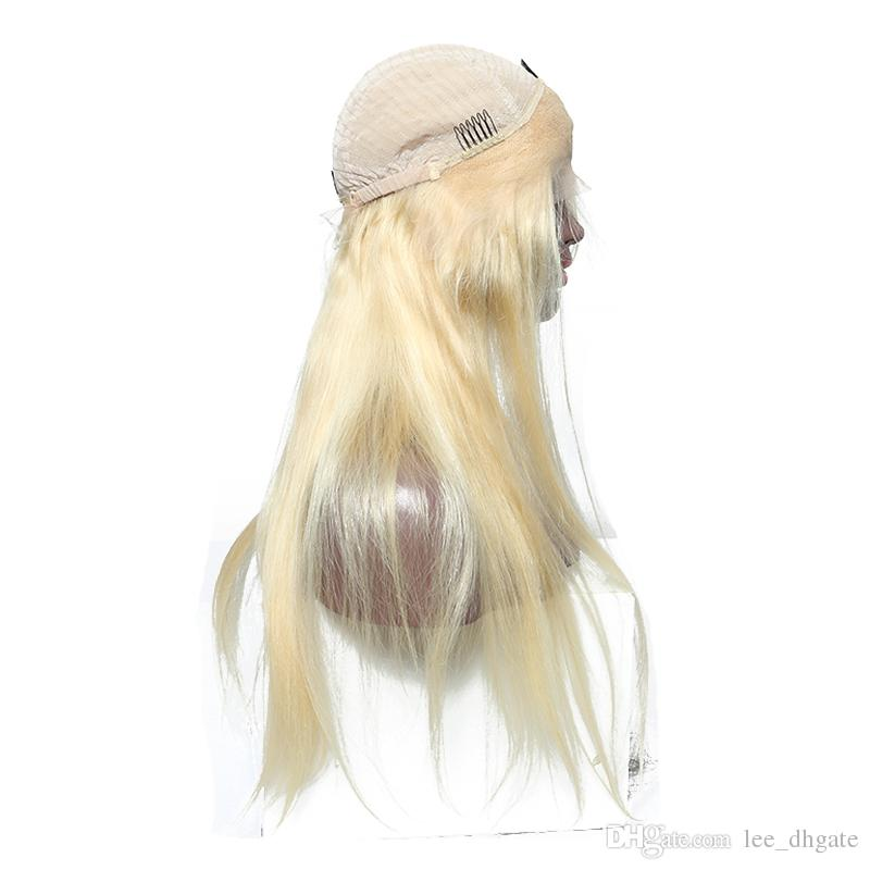 Cabello humano brasileño 613 rubia peluca de encaje completo raíces oscuras sedoso peluca recta con tapa de color marrón / transpapent 150 densidad