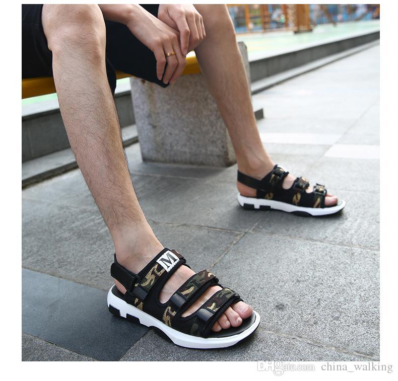 0fc3800c3898 Men Sandals Velcro Sandals Summer Beach Shoes Comfortable Fashion Casual Flip  Flops Flat Sandal Birkenstock Sandals Shoes For Women From China walking