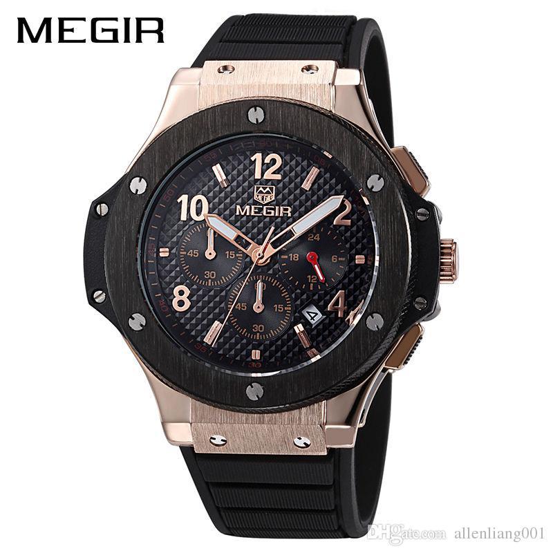 2c85ef2f0b1 MEGIR Original Quartz Men Watch Big Dial Silicone Sport Military Watches  Clock Men Chronograph Wristwatch Model 3002G Men Sport Watch Quartz Men  Watch Man ...