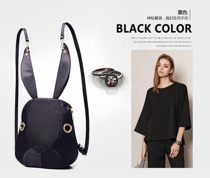 Rabbit Nylon Shoulder Bag Korean Fashion Leisure Cartoon Children Bag Creative Personality Backpacks Stylish Travel Backpack