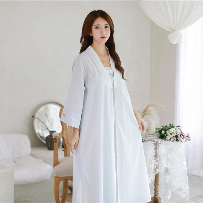 5ab50b70a 2019 Robe Nightgown Girl Women Sleepwear Embroidery Long Robe Chinese Retro  Style Set From Cailey, $56.06 | DHgate.Com