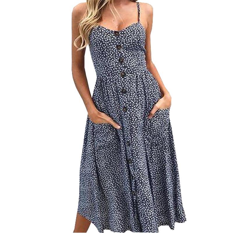 91673182c88fd Boho Sommer Strandkleid Frauen Sexy Spaghetti Strap Floral bedruckte  Kleider Robe Tasten Taschen Party Sommerkleid Druck 2019 GV462