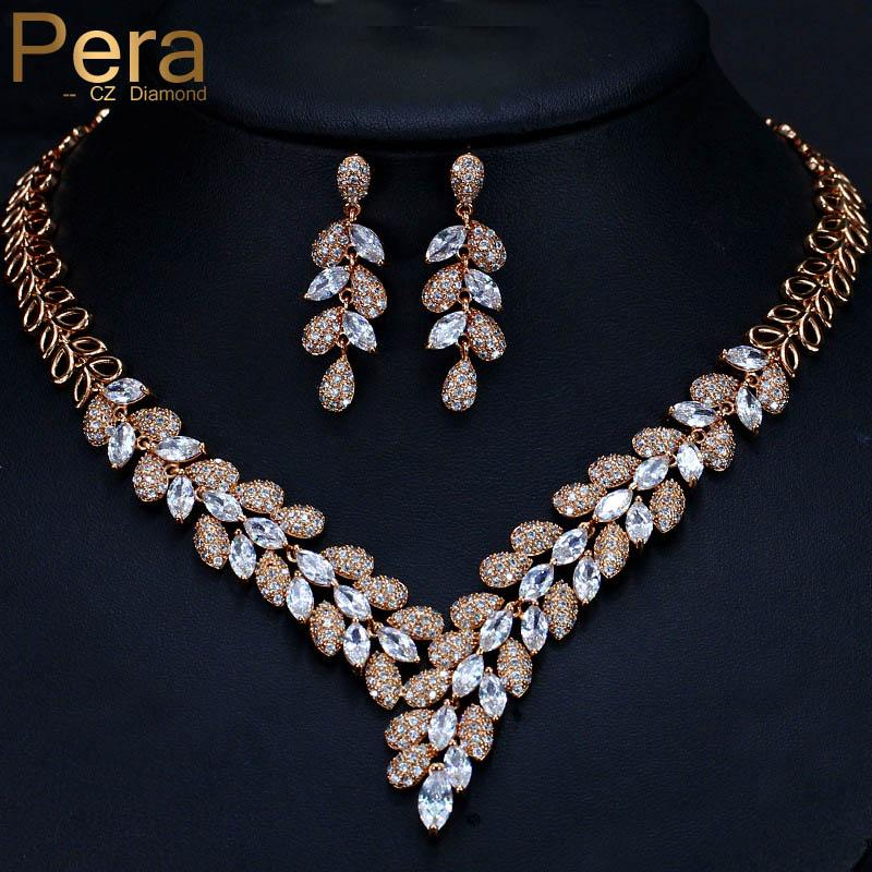 Pera Luxury Dubai Women Wedding Set Big Cubic Zirconia Stone Leaf Shape Long Drop Necklace And Earrings For Brides Jewelry J246