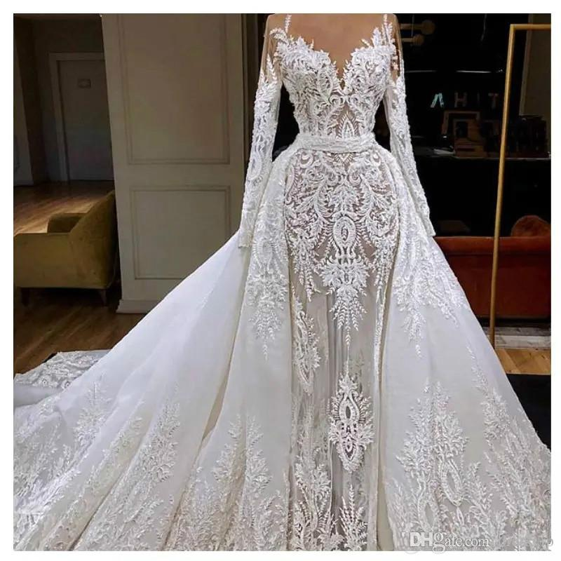 Real Picture Mermaid Wedding Dresses With Detachable Train Lace Applique Sweep Train Generous Country Bridal Dress Long Sleeve Wedding Gowns