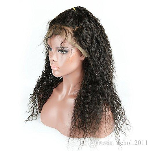 """Curly Lace Front Human Hair Wigs 130% Density Brazilian Virgin Hair Deep Curly Wig with Baby Hair for Black Women Natural Color 18"""""""