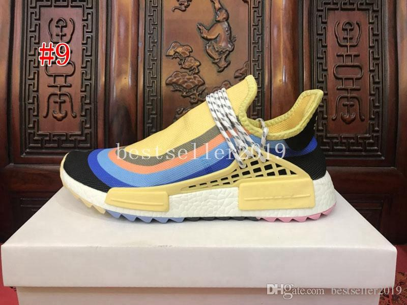 2019 Human Race mens shoes Peace Passion Happy Youth and Heart hu Pharrell Williams black blue green red White Womens Sneakers Schuhe