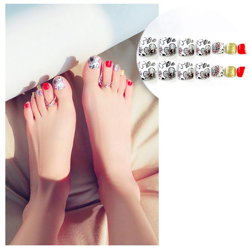 False Nails Colourful Summer Foot Patch Refreshing Color Toenails ...
