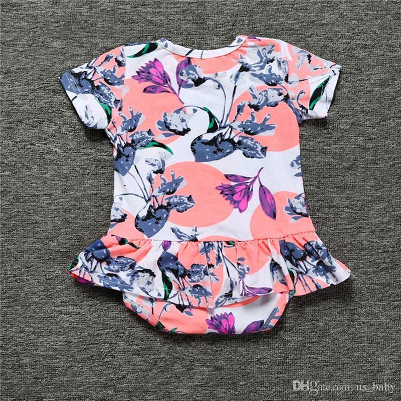 Flor recém-nascida impressão Romper Do Bebê Das Meninas Dos Meninos de Algodão Macacão Macacão de Bebê macacão Sunsuits 5 cores para 3M-3T