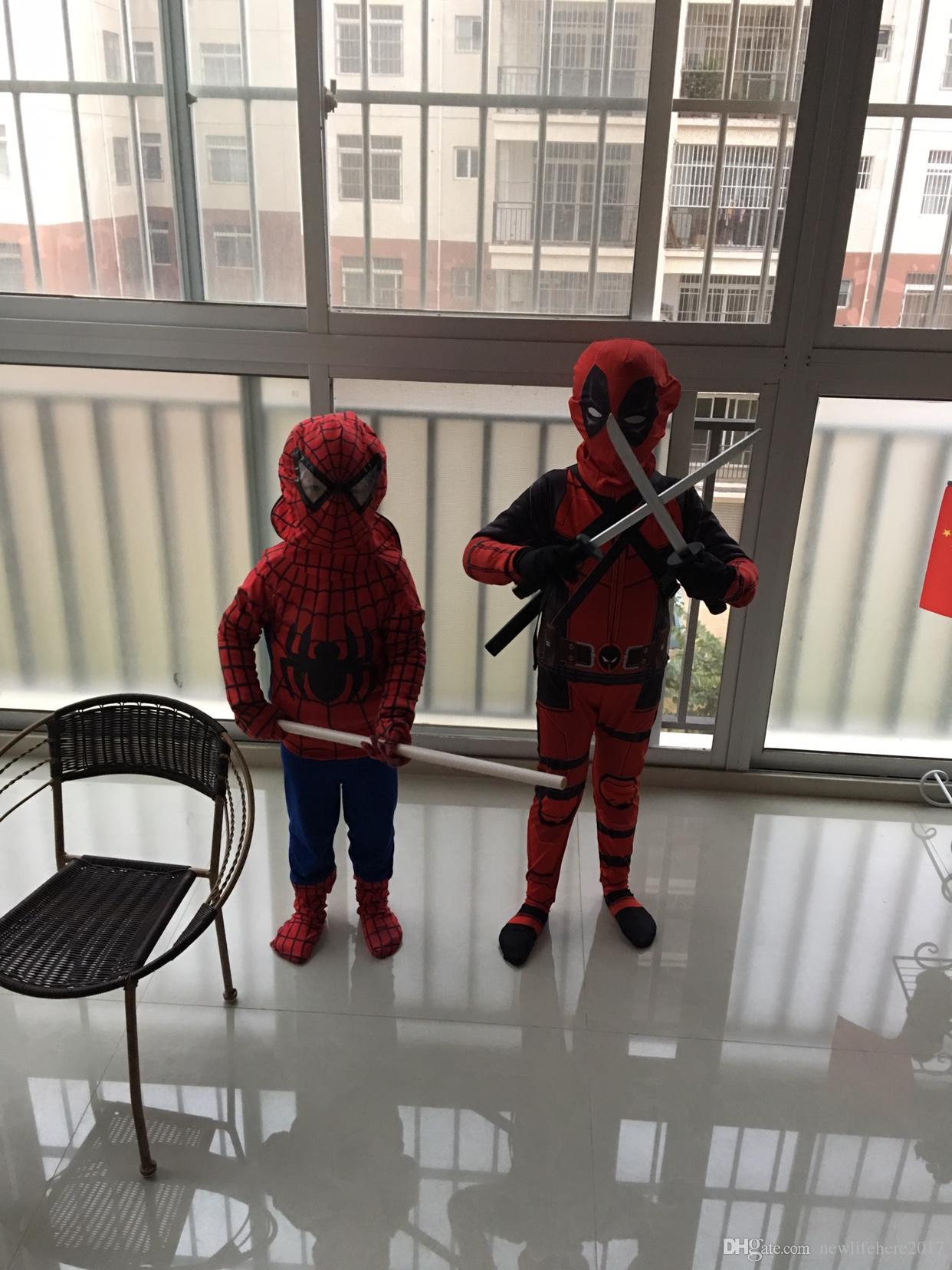 حار الاطفال Deadpool تأثيري هالوين تأثيري كامل للجسم Deadpool الكبار حلي الطباعة الرقمية ليكرا ملابس