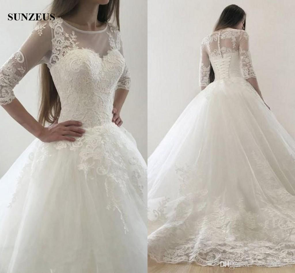 2018 Fall Winter Ball Gown Wedding Dresses With Half Sleeves ...