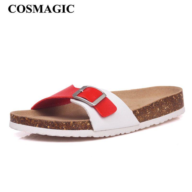 COSMAGIC 2018 New Fashion Summer Cork Slipper Sandals Women Casual Beach  Mixed Color Flip Flops Slides Shoe Flat With Plus Size Leather Boots For  Women ... 5ec4b7b0c612