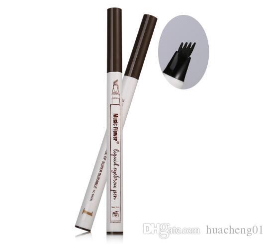 음악 꽃 액체 눈썹 펜 메이크업 좋은 스케치 3 색 더블 헤드 눈 이마 아이 라이너 방수