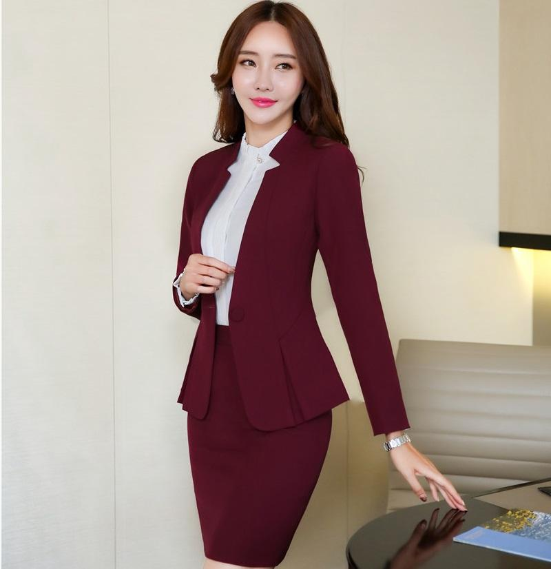 b33051430131 2019 Formal Maroon Red Blazer Women Business Suits With Skirt And Jacket  Sets Ladies Office Uniform Designs Styles 2018 New Styles From Bevarly, ...