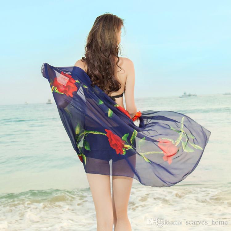 Nova Moda Feminina Georgette Longo Envoltório Xaile Lenços De Seda Praia Lenços Acessórios de Moda Florial Imprimir 200 * 100 CM