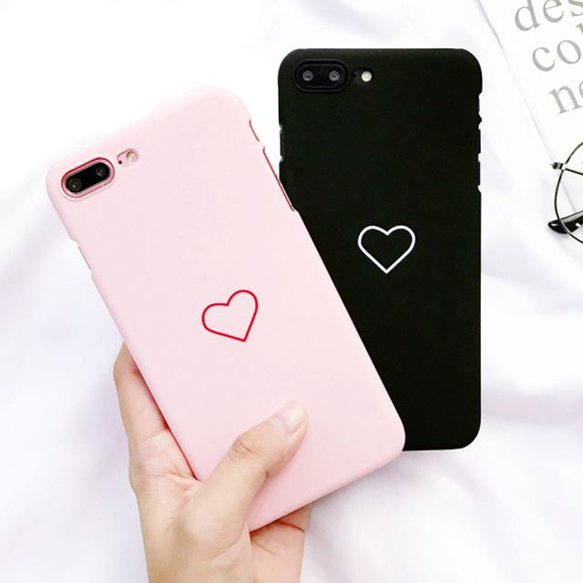 6382259c12cf1 Love Heart Phone Case For Iphone 5 5S 6 6S 7 8 Plus X Couples Back ...